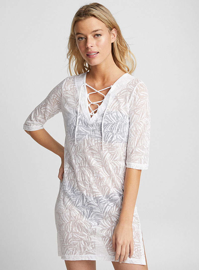 Laced V-neck burnout beach tunic - Dresses - Black and White