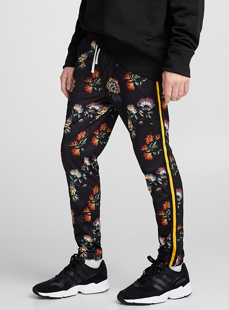 Patterned microfibre track pant - Joggers - Patterned Black