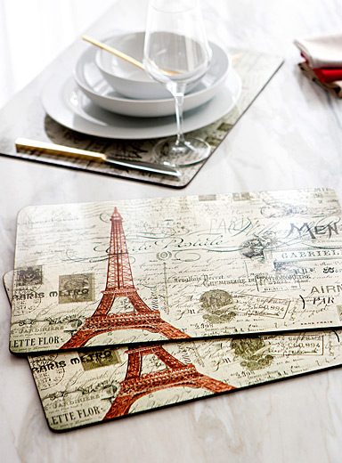 Retro Parisian laminated cork placemats <br>Set of 4