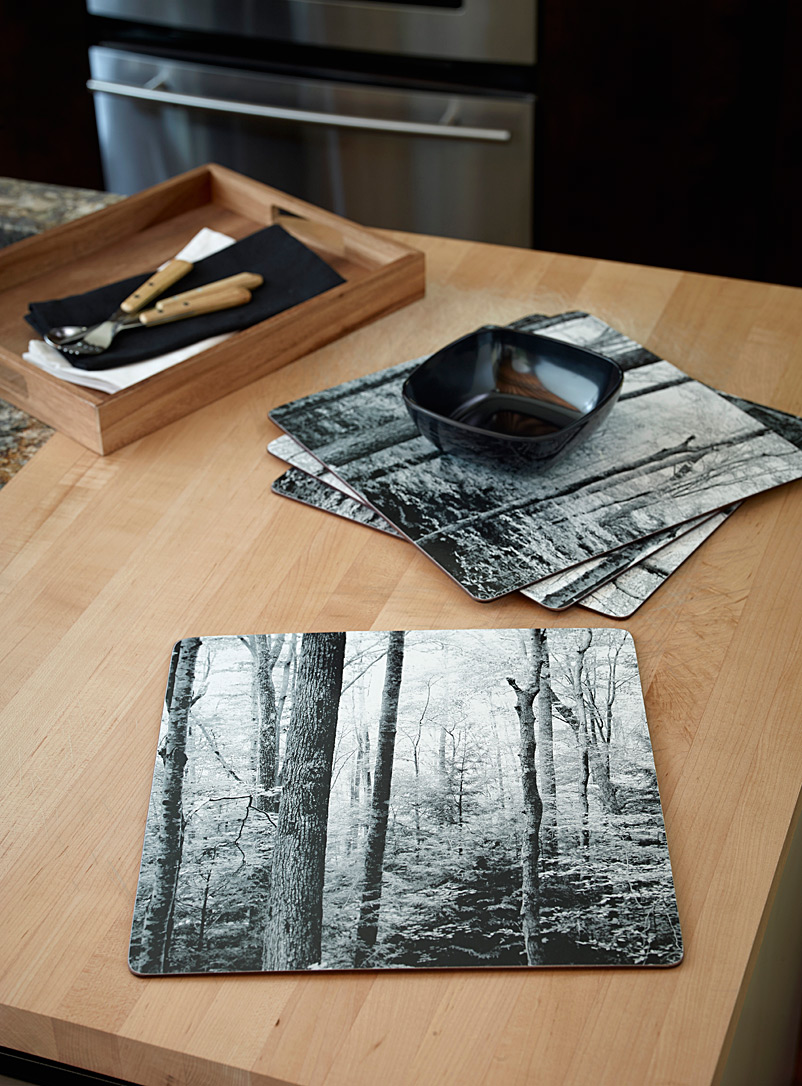 Boreal forest laminated cork place mats  Set of 4
