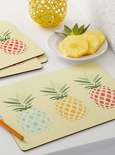 Pineapple cocktail laminated cork placemats <br>Set of 4