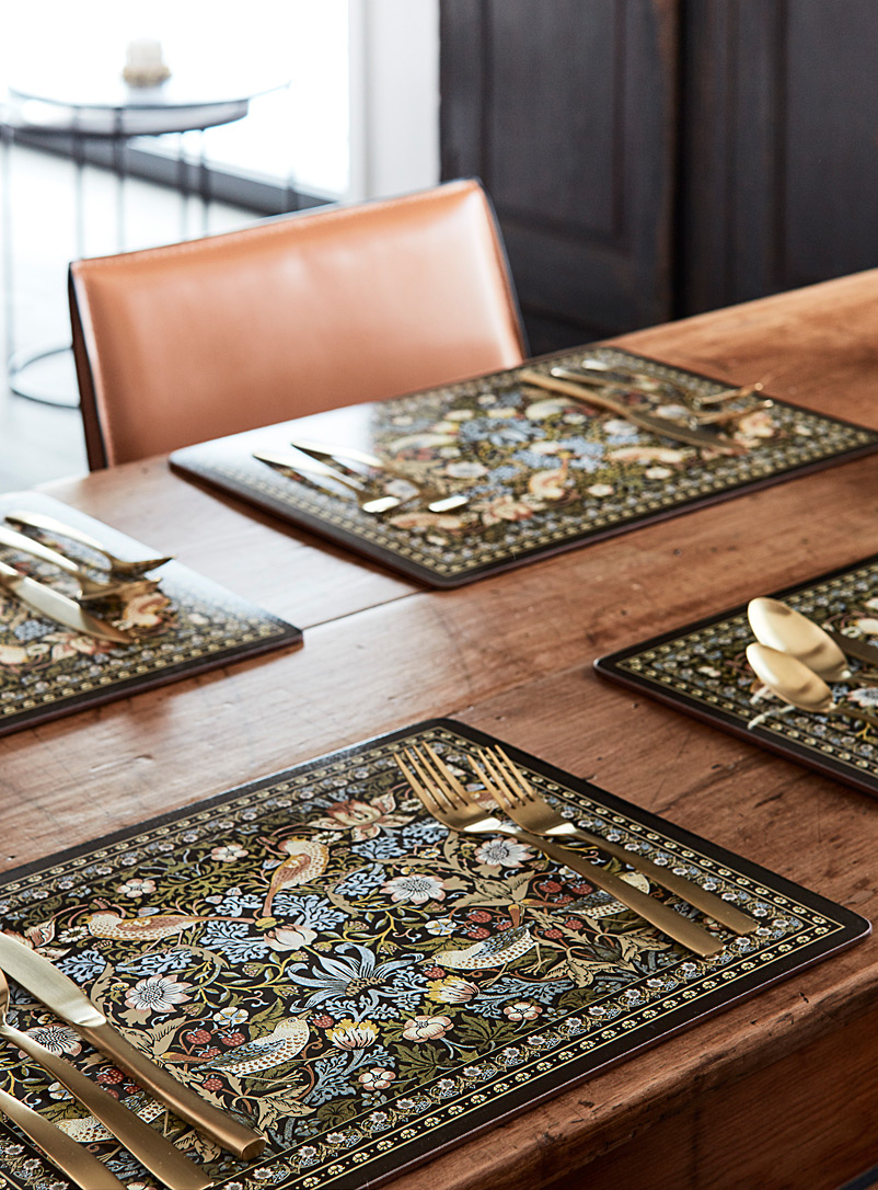 Enchanted Birds Laminated Cork Placemats Set Of 4 Simons Maison Hardback Placemats Kitchen Dining Simons