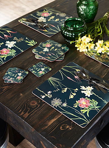 Dried flower laminated cork place mats  Set of 4