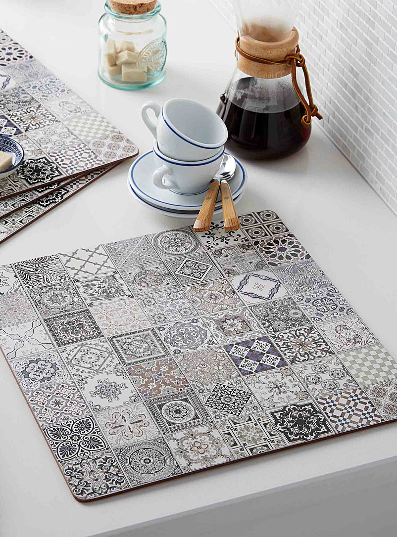 Tile laminated cork placemats  Set of 4 - Hardback - Assorted