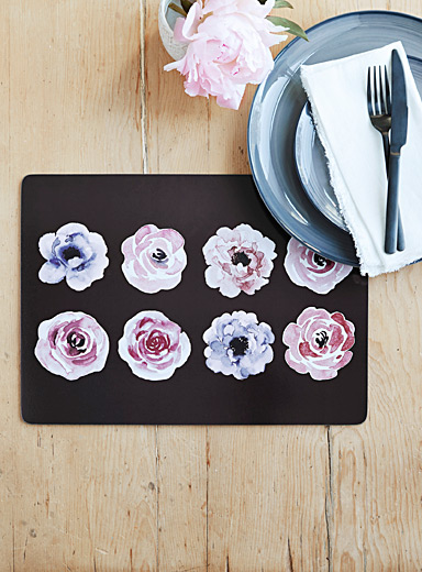 Winter roses laminated cork place mats  Set of 4