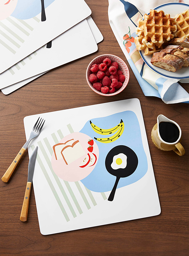 Catherine Lavoie x Simons Assorted Breakfast laminated cork placemats  Set of 4