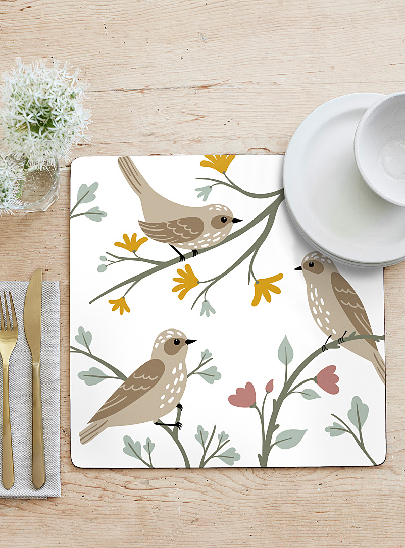 Simons Maison Assorted Garden bird laminated cork placemats  Set of 4