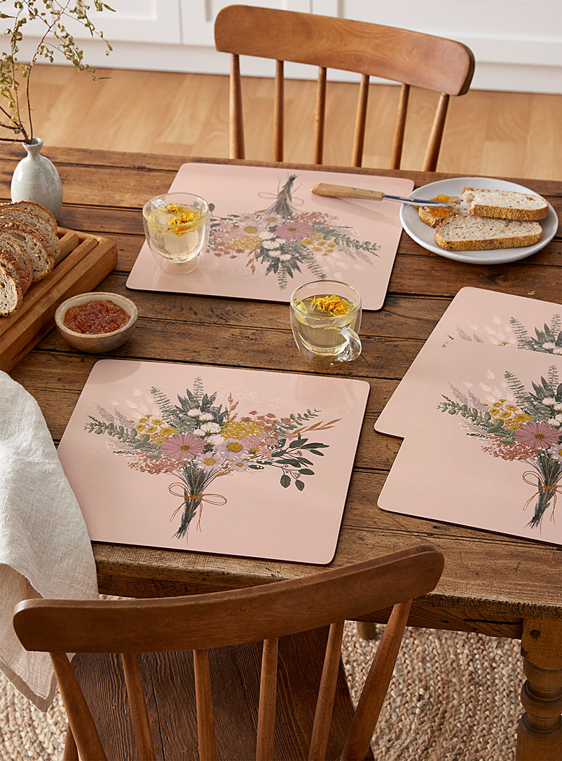 Simons Maison Dusky Pink Eternal flower laminated cork placemats Set of 4