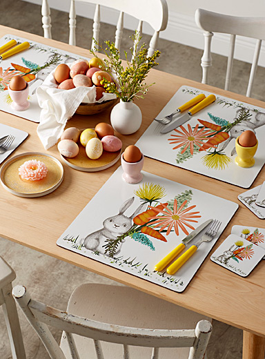 Simons Maison Assorted Spring rabbit laminated cork placemats  Set of 4