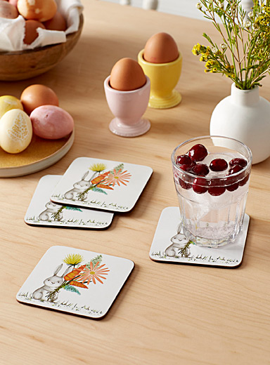 Spring rabbit laminated cork coasters  Set of 4