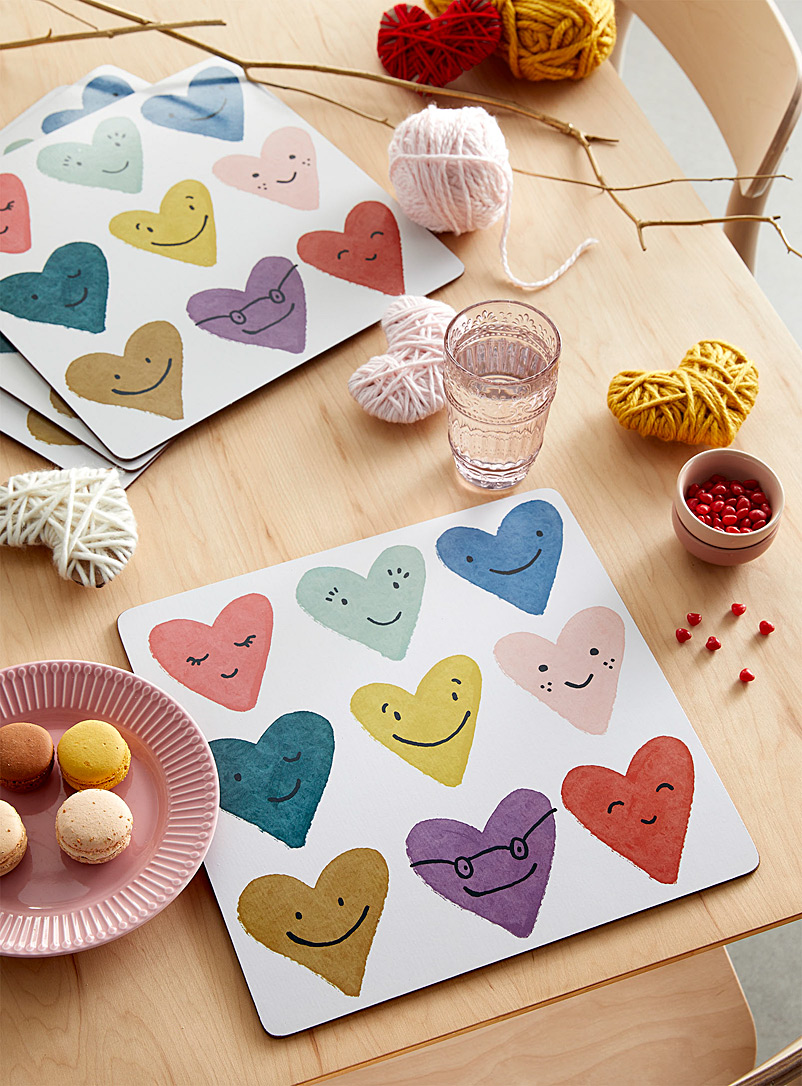 Simons Maison Assorted Inseparable hearts laminated cork placemats Set of 4