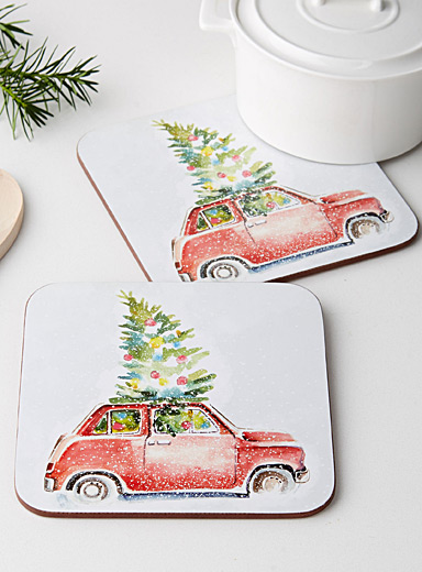 Bring home the tree laminated cork trivets  Set of 2