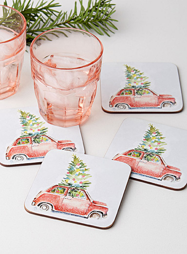 Bring home the tree laminated cork coasters  Set of 4