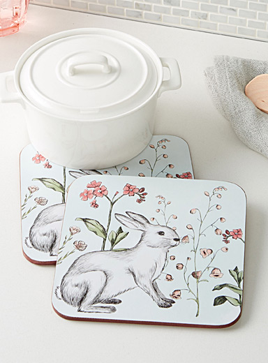Rabbit sketch laminated cork trivets  Set of 2