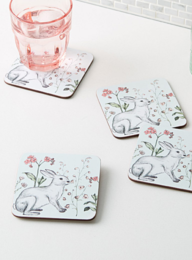 Rabbit sketch laminated cork coasters  Set of 4