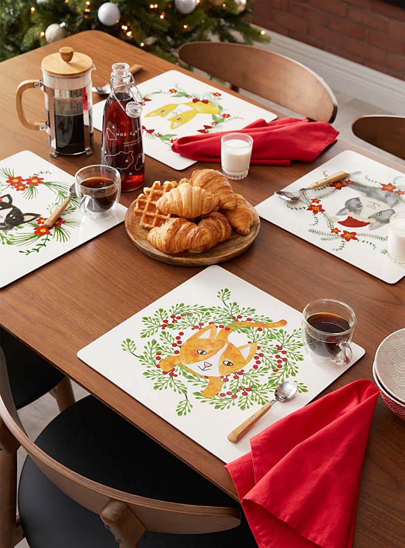 Danica x Simons Maison Assorted Christmas cats laminated cork placemats  Set of 4