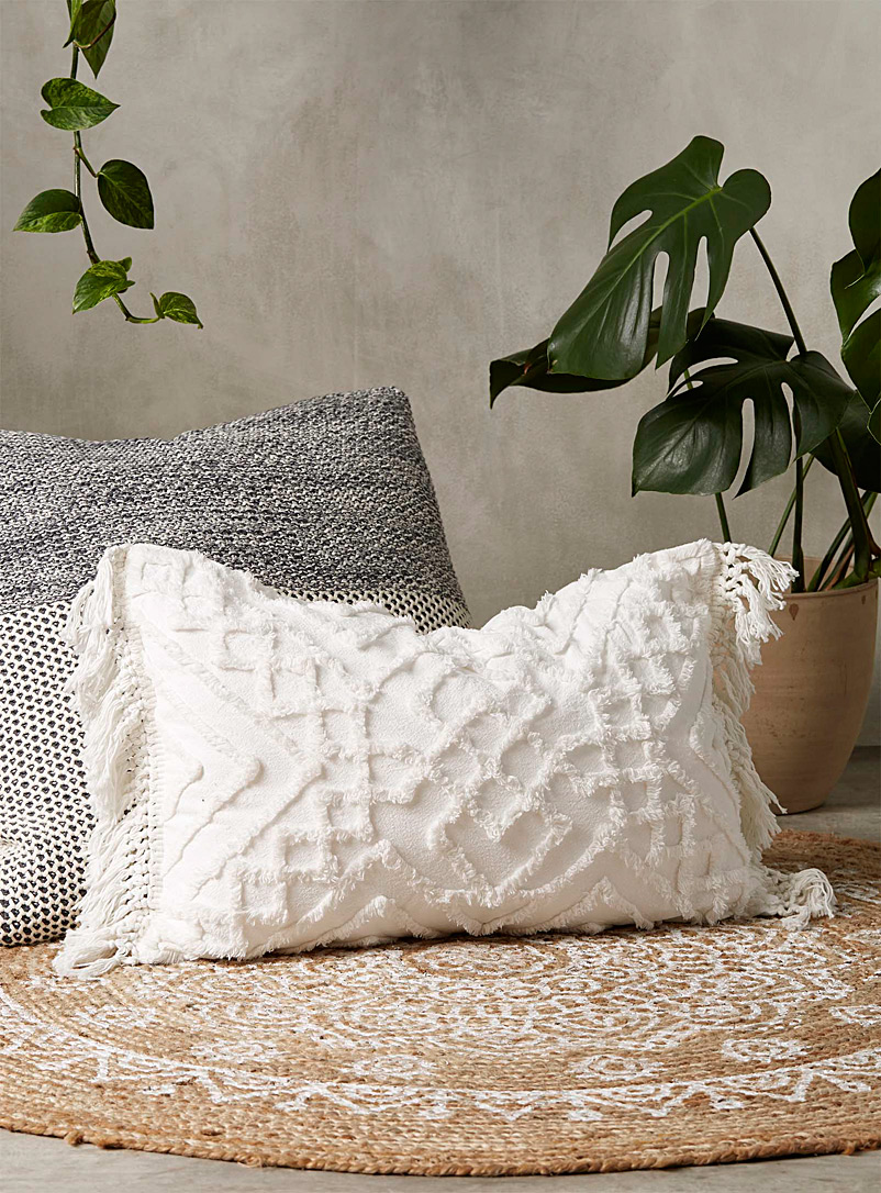 Linen House White Chenille embroidery cushion 40 x 60cm