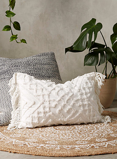 Linen House White Chenille embroidery cushion  40 x 60 cm