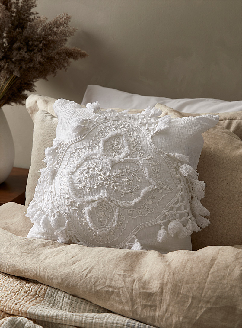 Linen House Ivory White Alli cushion cover
