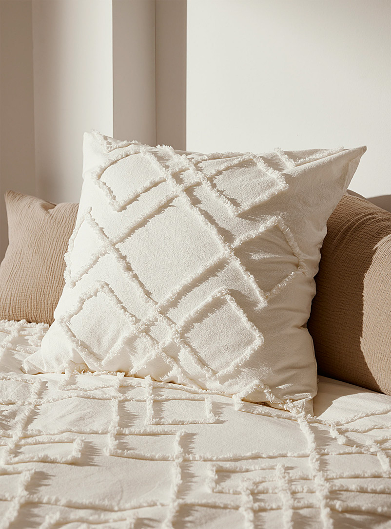 Linen House White Chenille embroidery Euro pillow sham