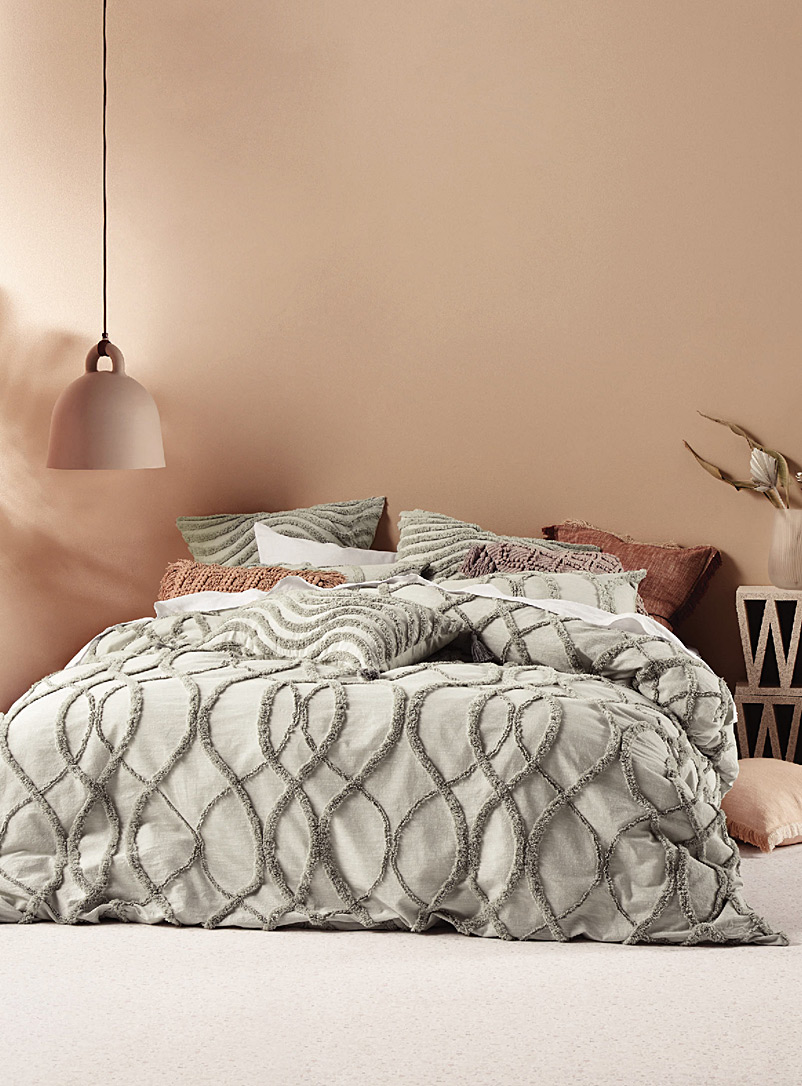 Linen House Light Grey Amadora waves duvet cover set