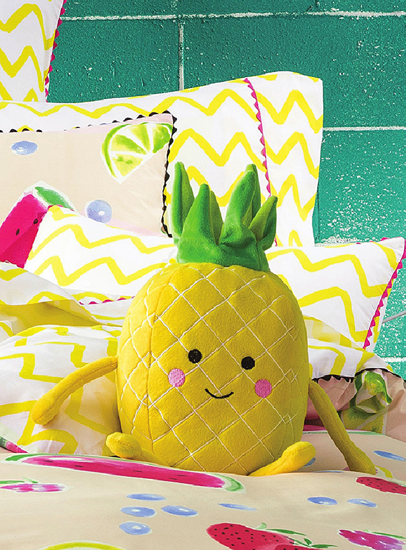 Hiccups Medium Yellow Happy pineapple plush cushion
