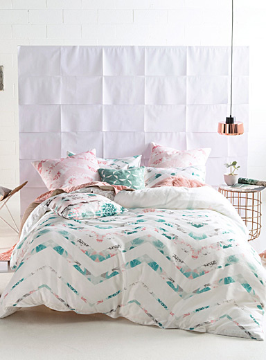 Floral chevron duvet cover set
