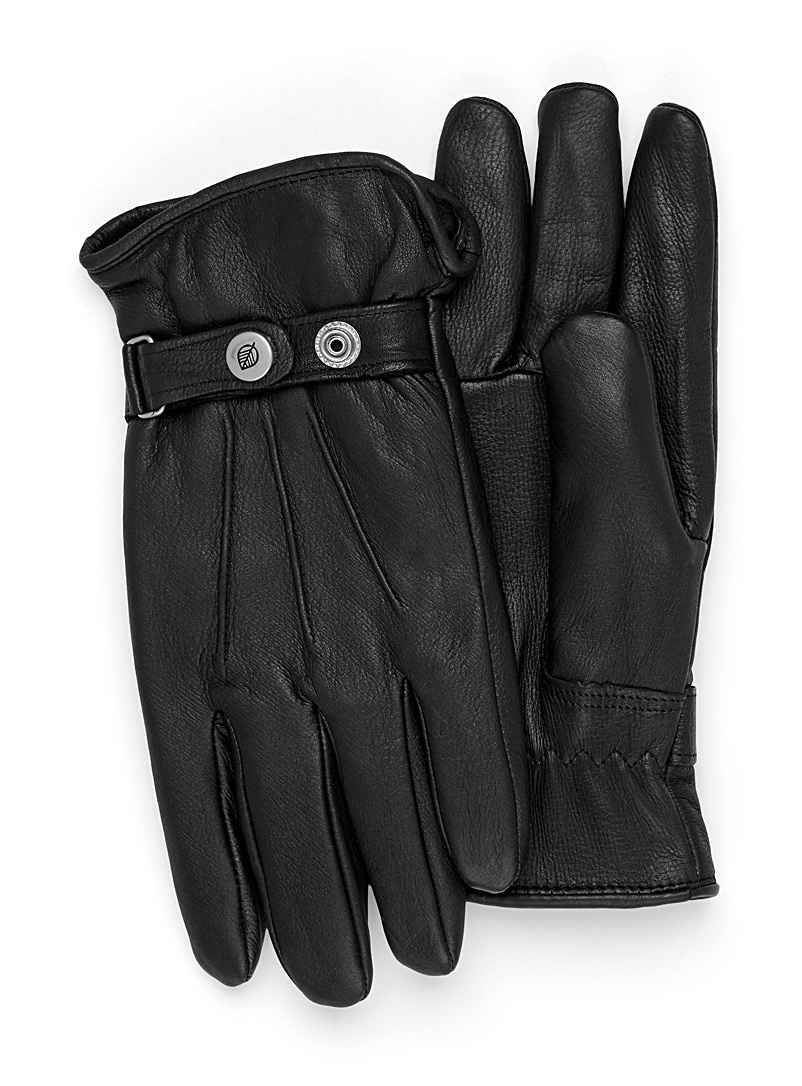 Le 31 Black Minimalist leather gloves for men