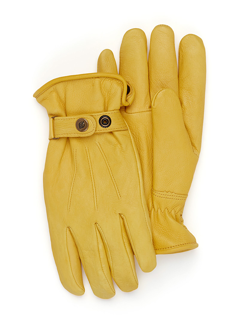 Le 31 Fawn Minimalist leather gloves for men
