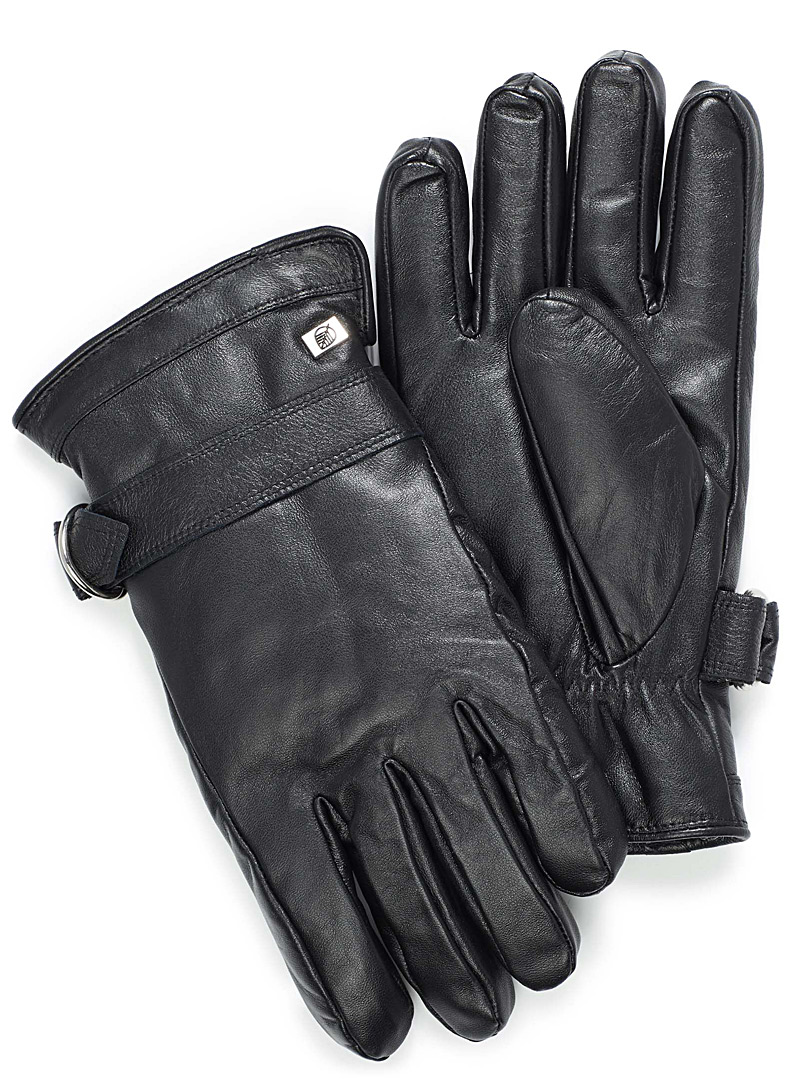 Leather and sheep wool gloves