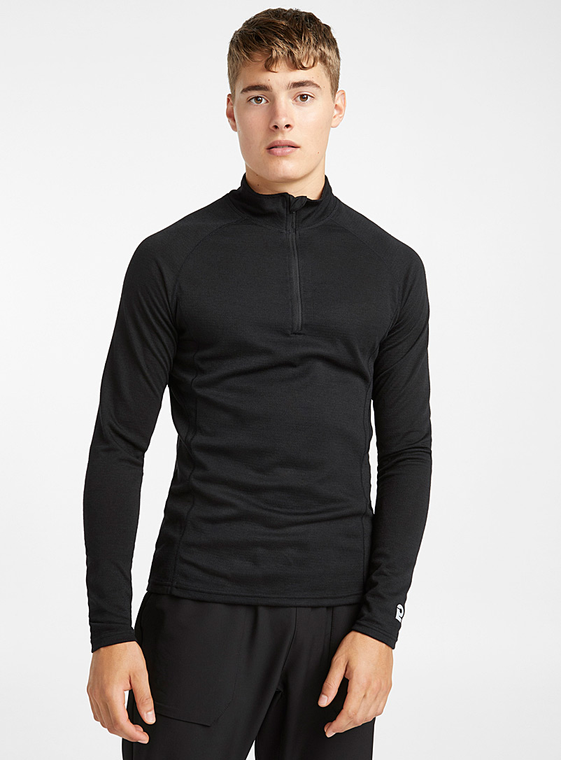 Merino wool half-zip top - Outdoor - Black