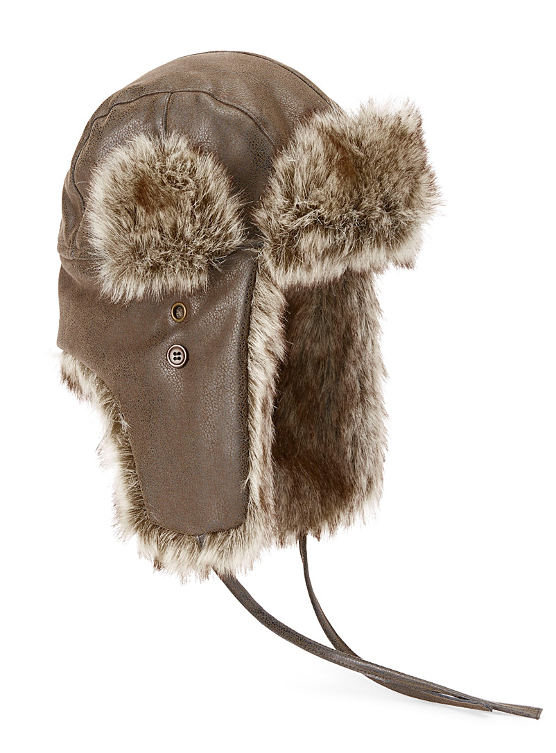 Faux-leather trapper hat