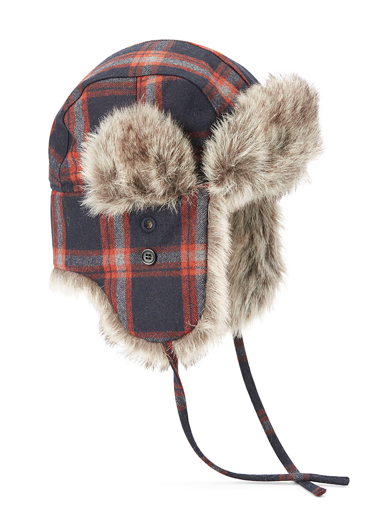 Le 31 Patterned Blue Rustic check trapper hat for men