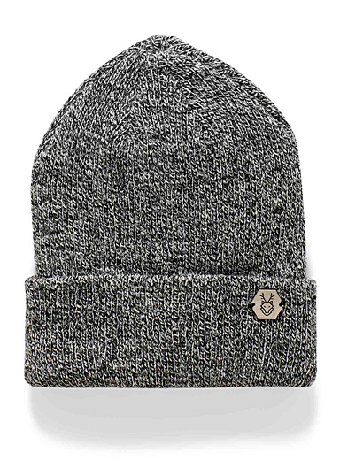 Le 31 Patterned Grey Salt and pepper ribbed tuque for men