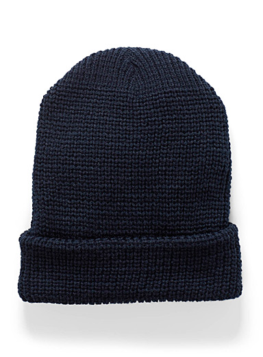 Le 31 Marine Blue Minimal ribbed tuque for men