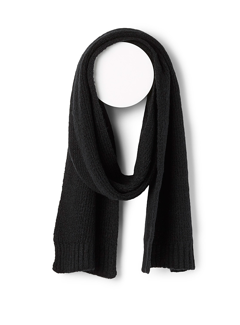 Le 31 Black Minimalist ribbed scarf for men