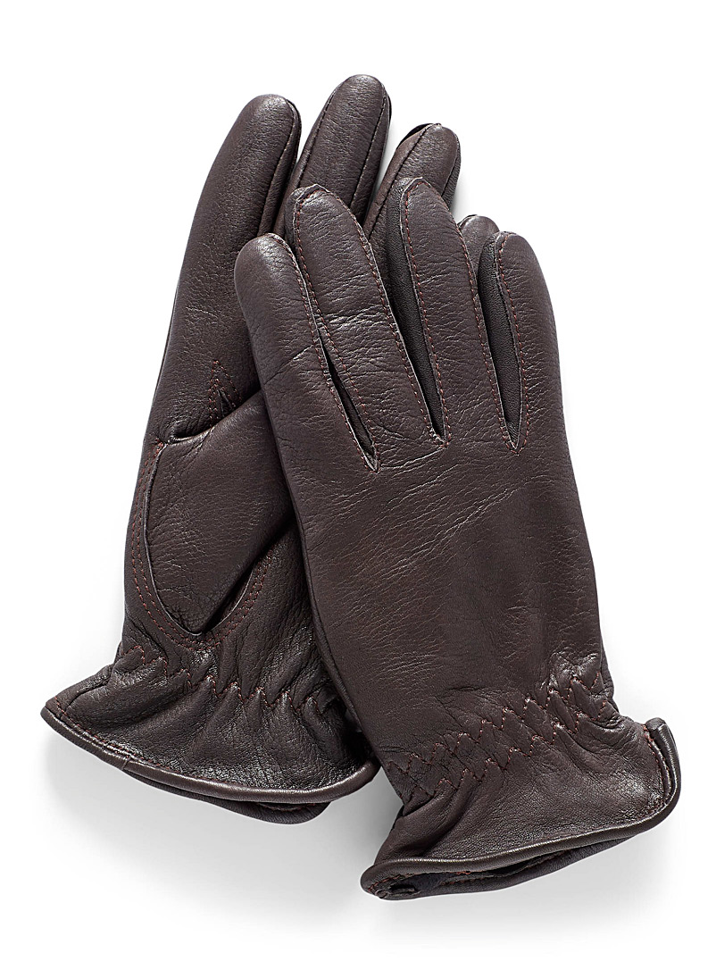 Simons Brown Essential lined leather gloves for women
