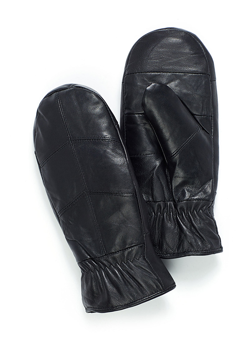 Simons Black Herringbone leather mittens for women