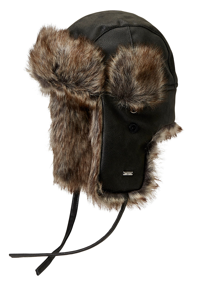 Faux-fur trapper hat