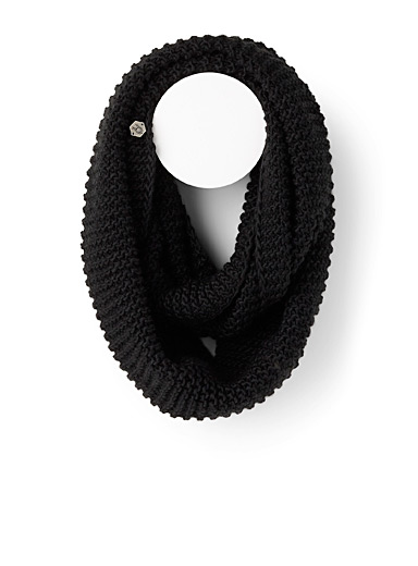 Laska Black Monochrome knit scarf for women