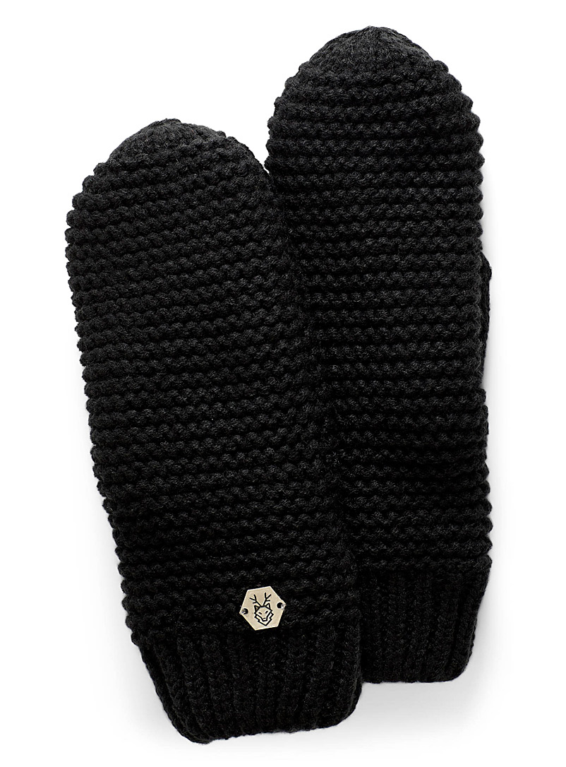 Laska Black Monochrome knit mittens for women