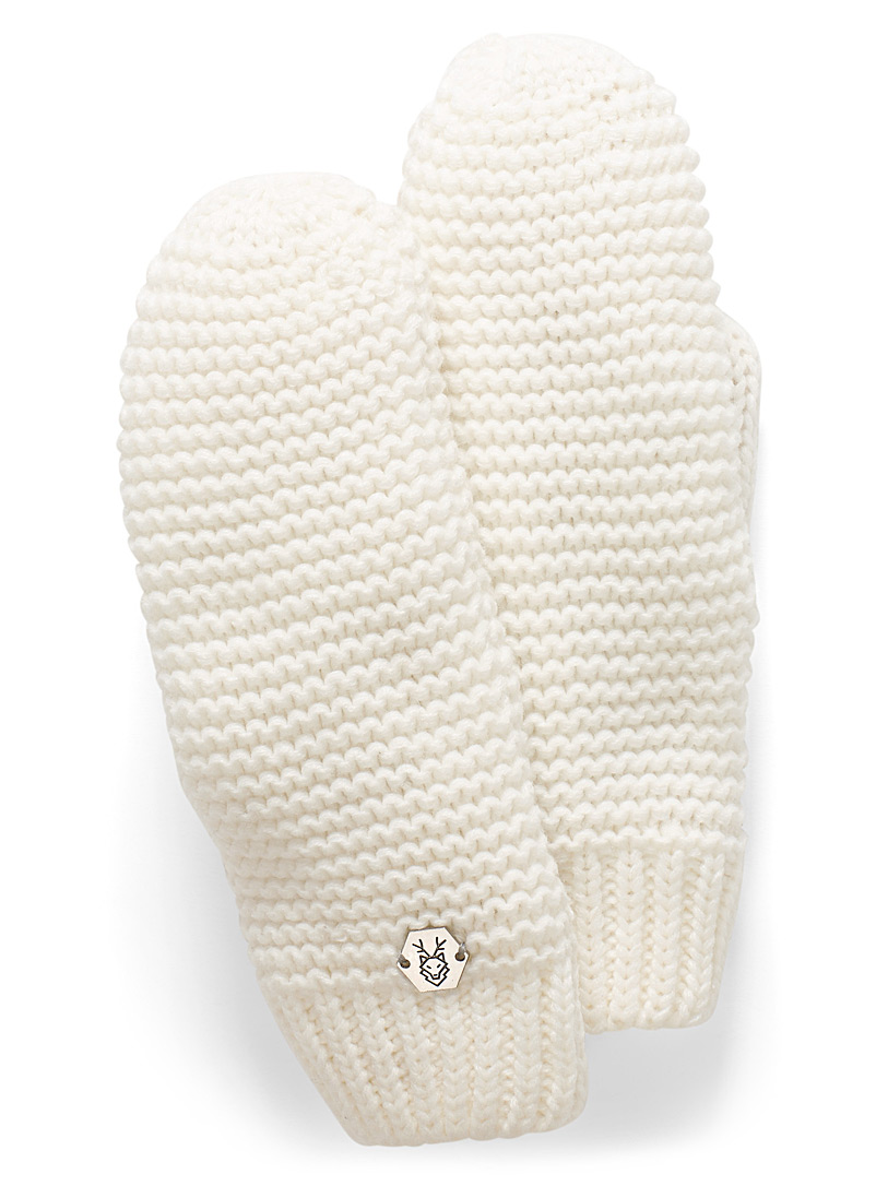 Laska White Monochrome knit mittens for women