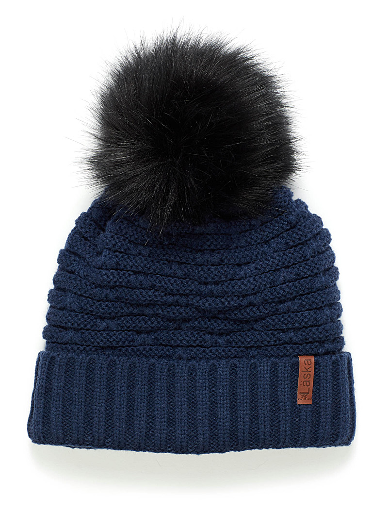 Lined rib-knit tuque - Tuques & Berets - Marine Blue
