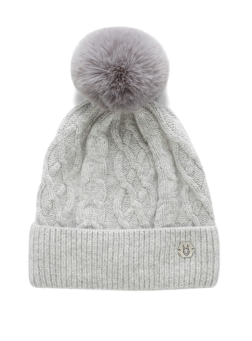 Laska Grey Pompom and cable tuque for women