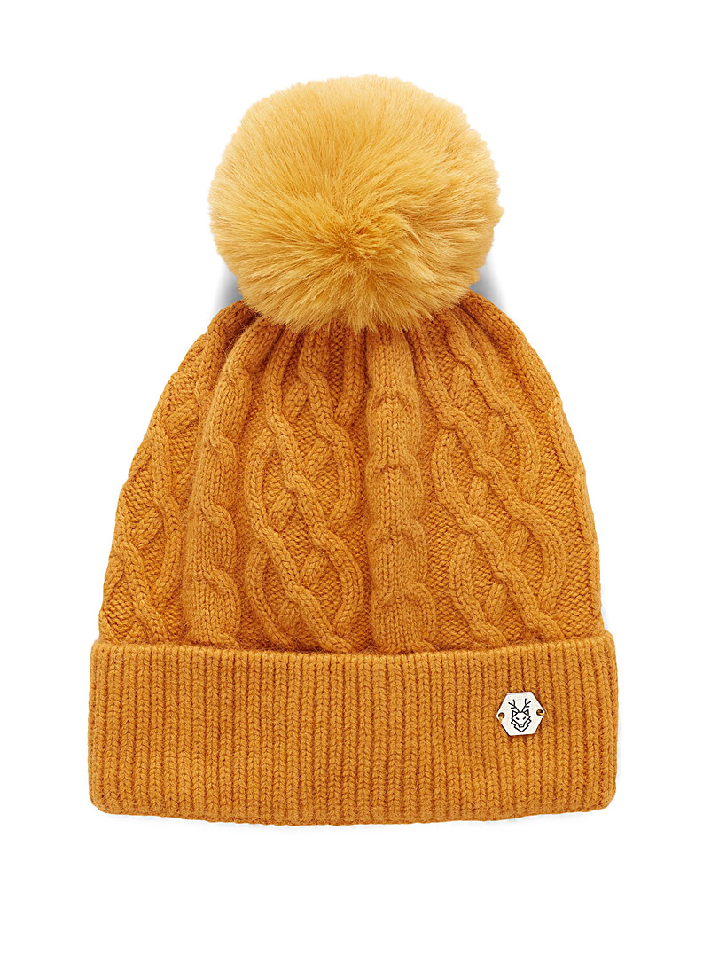 Laska Yellow Pompom and cable tuque for women