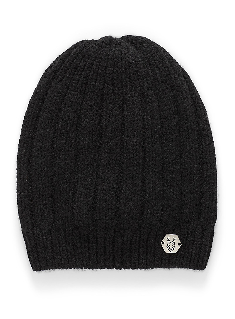 Laska Black Cashmere and wool ribbed tuque for women