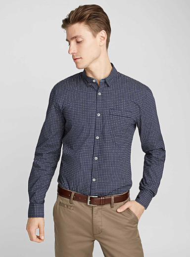 Chambray-accent geo shirt <br>Semi-tailored fit