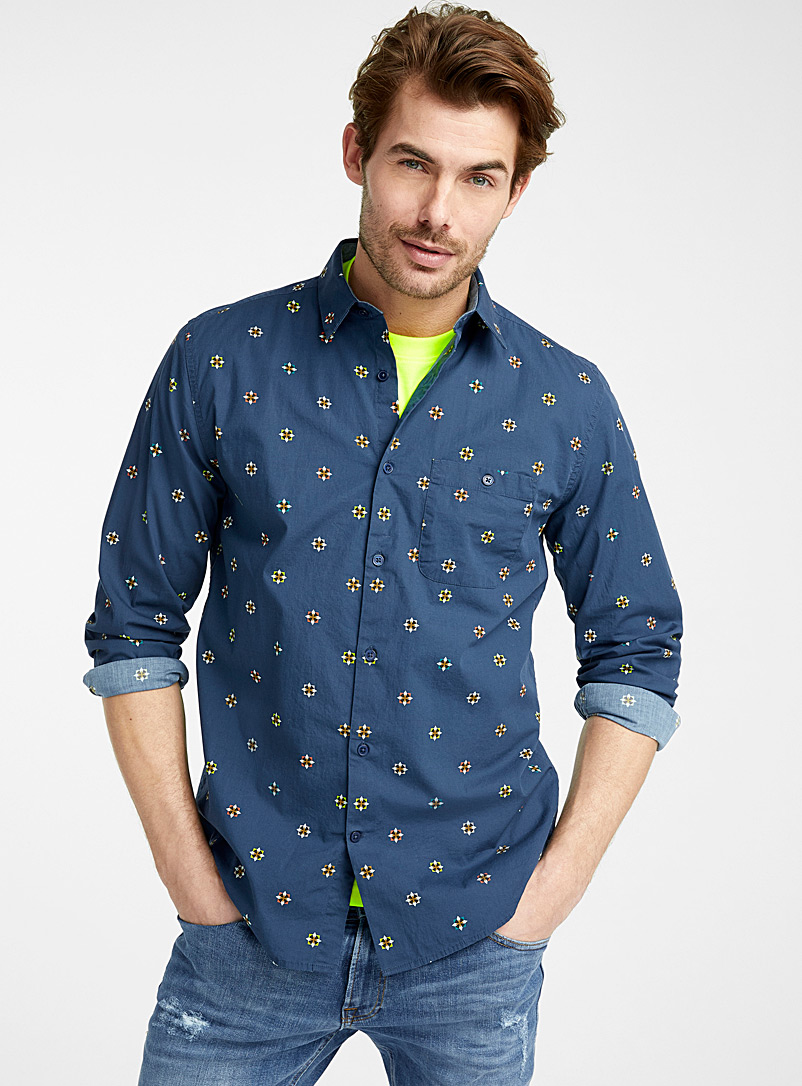 Le 31 Blue Electrifying geo-pattern shirt  Modern fit for men