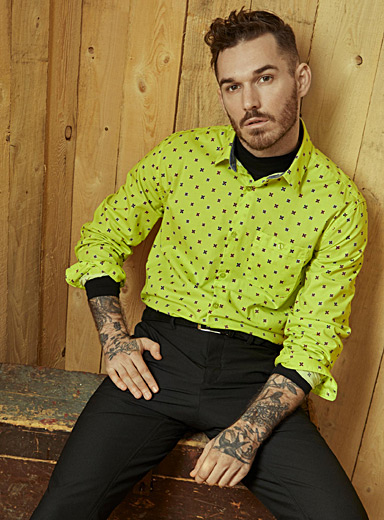Le 31 Bright Yellow Electrifying geo-pattern shirt  Modern fit for men