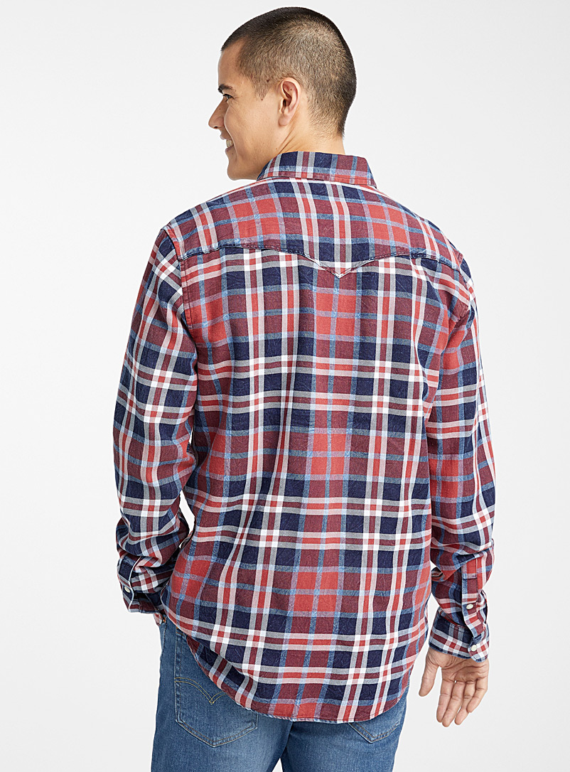 Le 31 Blue Western check shirt  Modern fit for men